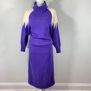 Vintage 80s Turtleneck Sweater Dress Lambswool